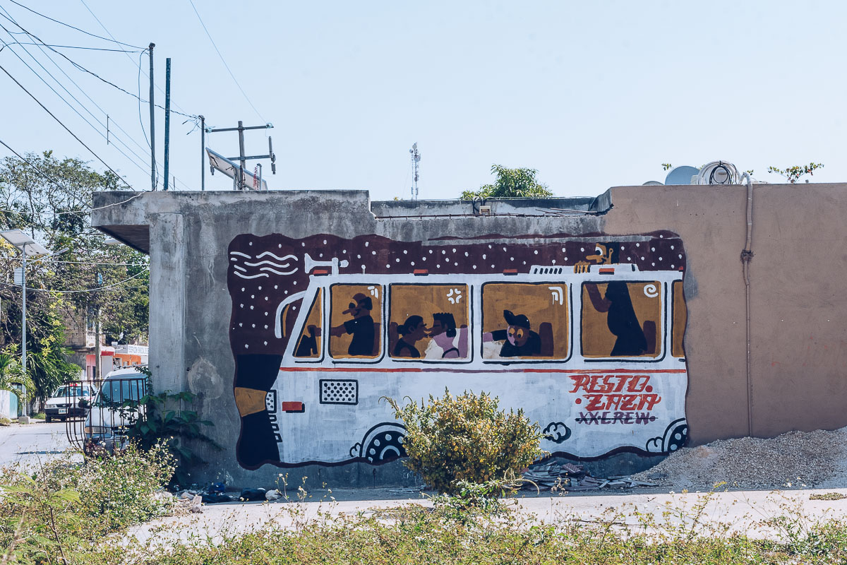 Refuse to hibernate tulum pueblo street art bus