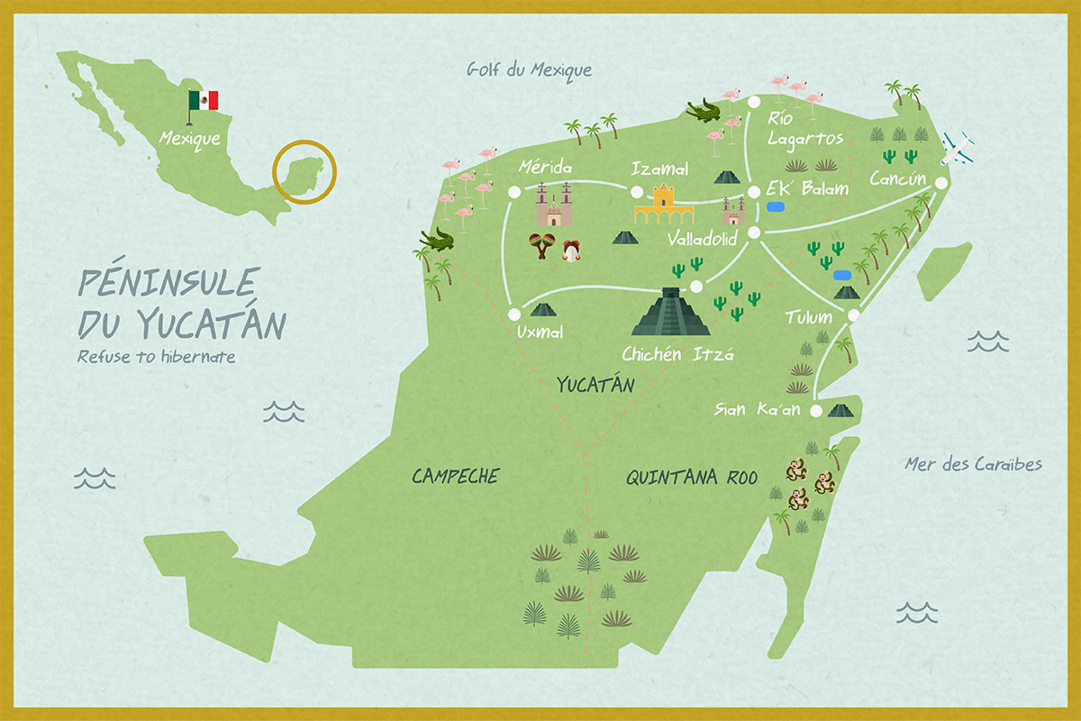 Refuse to hibernate Yucatan carte roadtrip 9 jours Mexique Valladolid