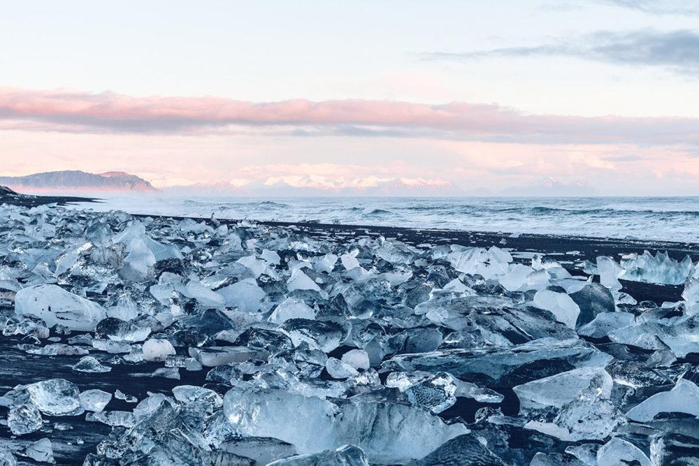 Refuse to hibernate Islande en hiver Diamond beach blocs de glace