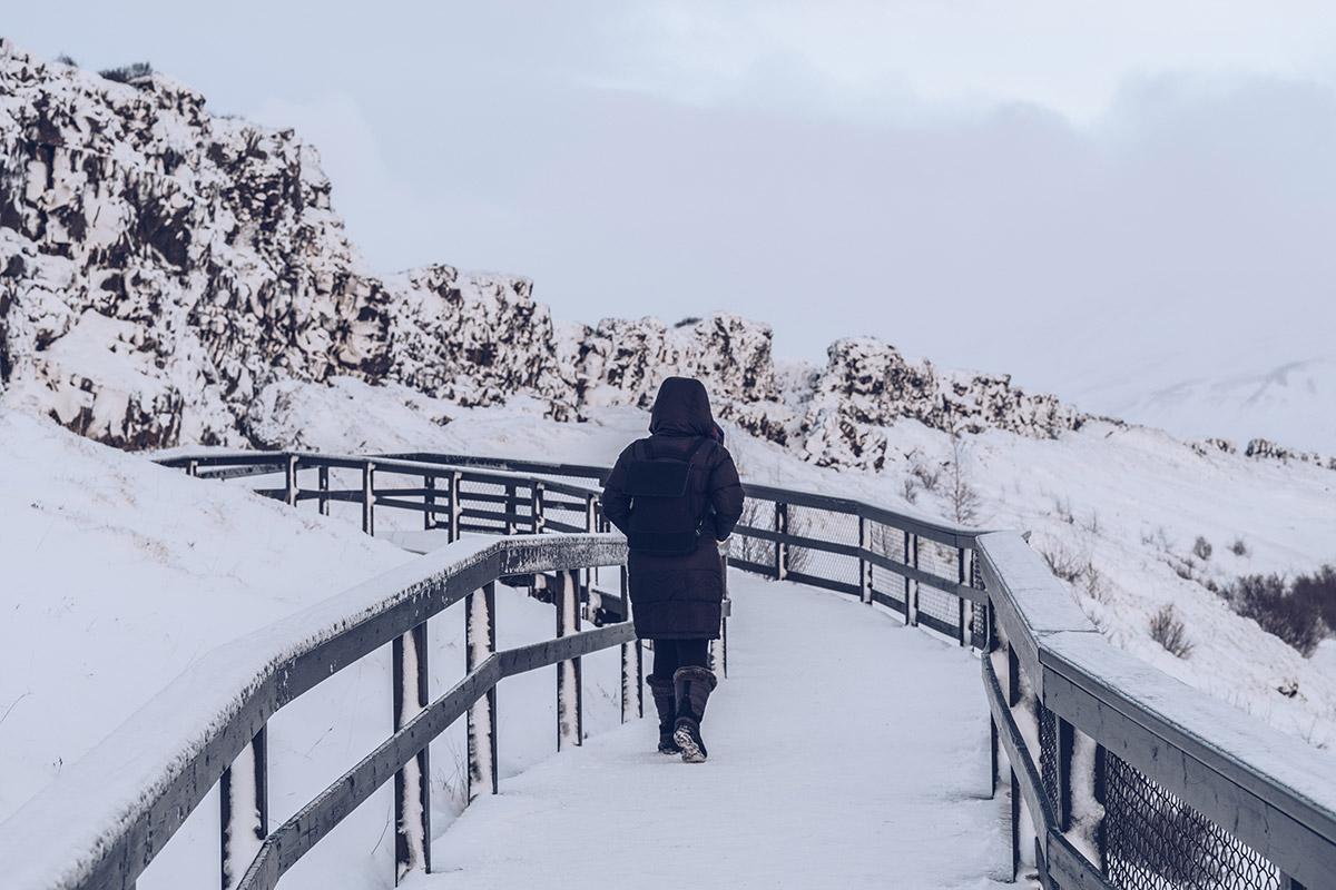 Refuse to hibernate Islande en hiver parc national Thingvellir Audrey sur le sentier