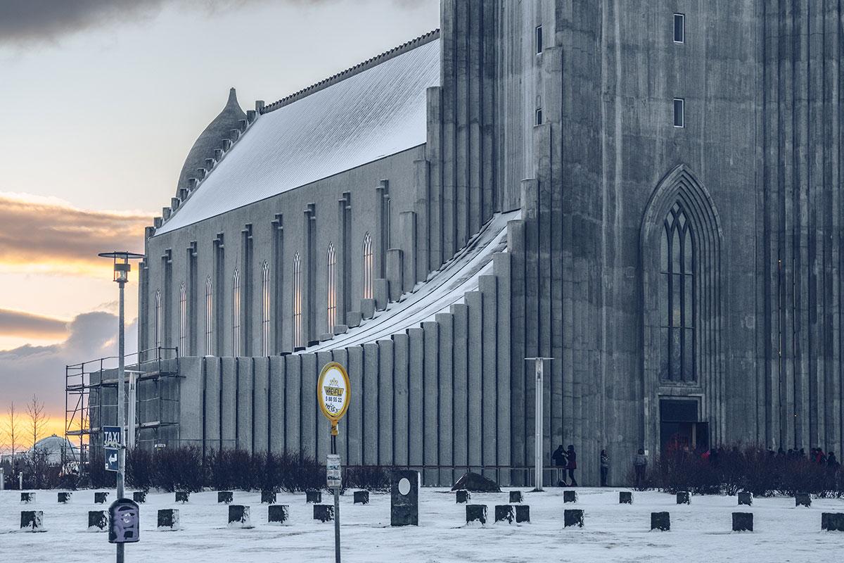 Refuse to hibernate Islande en hiver Reykjavik cathédrale d'Hallgrim