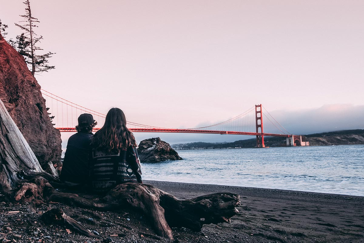 Refuse to hibernate San Francisco plage Kirby Cove pont du Golden Gate