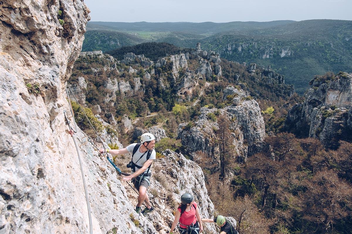 Refuse to hibernate Aveyron Montpellier-le-Vieux rocher via ferrata Max Audrey