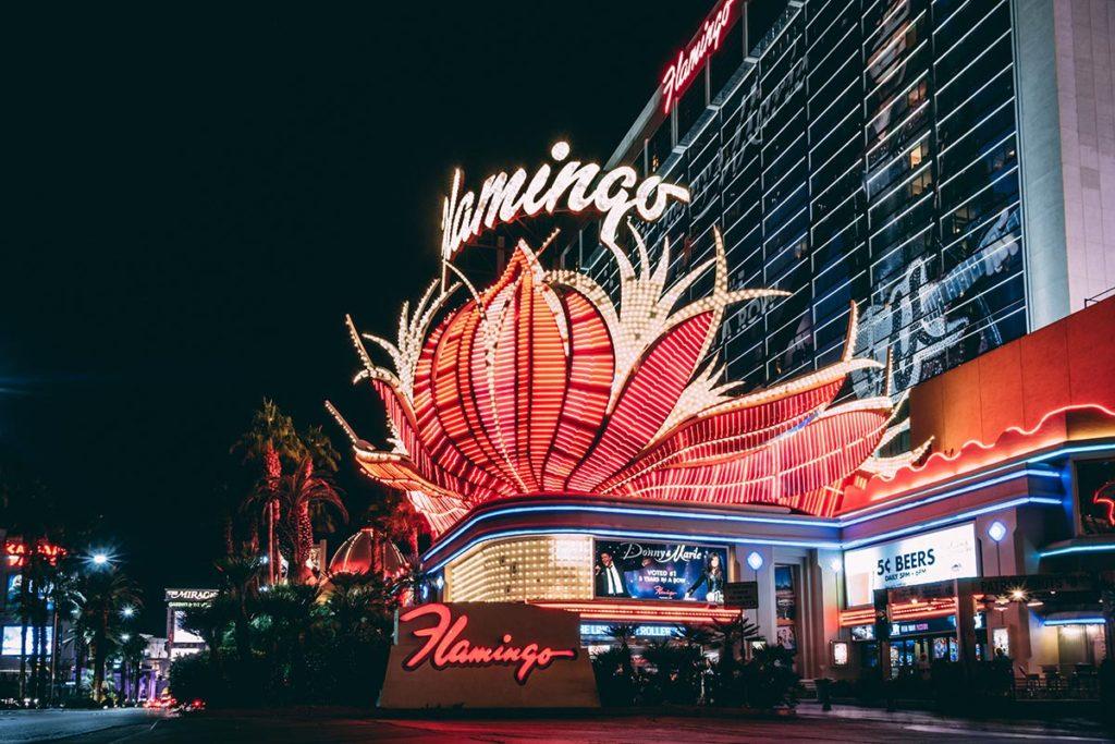 États-Unis Las Vegas hôtel Flamingo de nuit lumière Refuse to hibernate