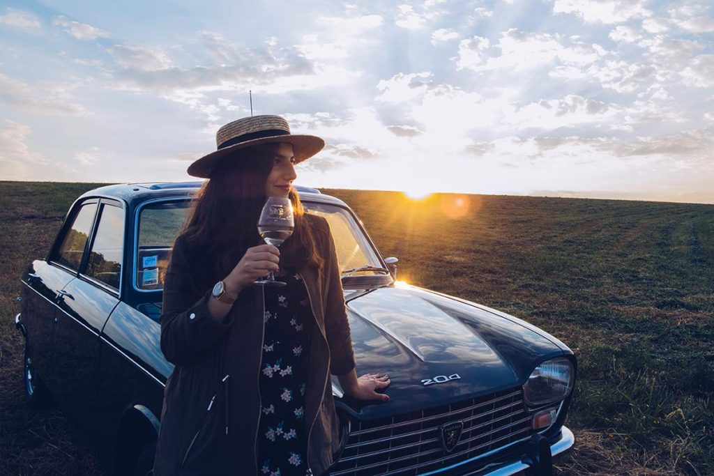 Refuse to hibernate Sancerre sunset and wine Audrey Peugeot 204 focus