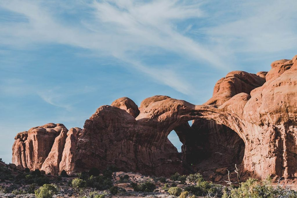 Utah Arches National Park Double arch Refuse to hibernate