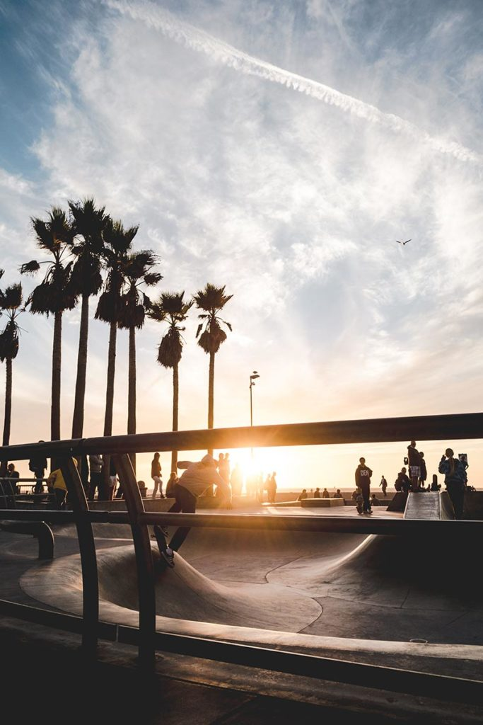 Los Angeles refuse to hibernate Venice Beach coucher de soleil skatepark