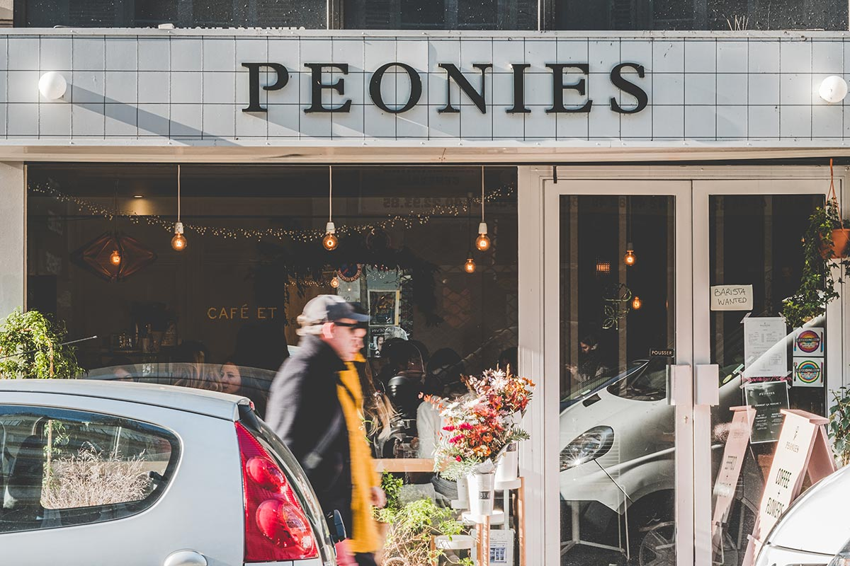 Peonies restaurant façade Refuse to hibernate