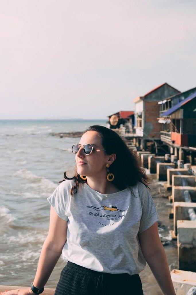 Audrey sur la terrasse du Kimly seafood restaurant Refuse to hibernate