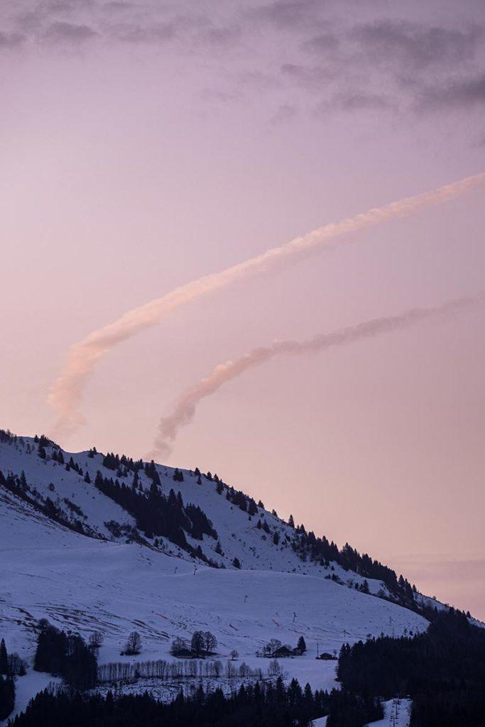 chambre d'hôte la Fontaine d'Argence ciel rose Alpes du Léman Refuse to hibernate