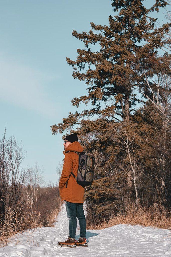 Elk Island national park Mickaël sur le sentier Edmonton Refuse to hibernate